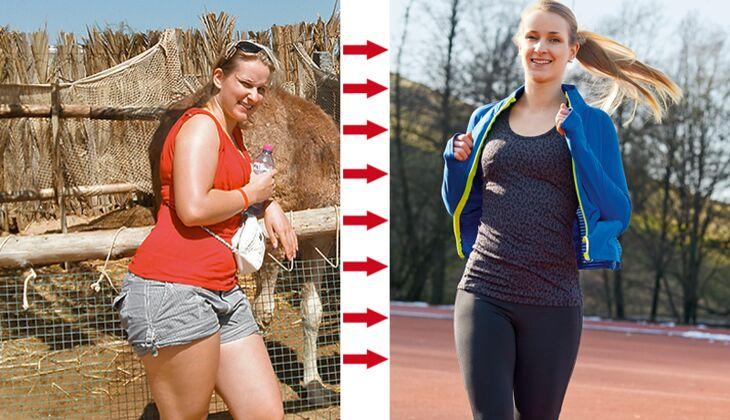 Claudia hat abgenommen: vorher wog sie 73 Kilo, nachher 57 Kilo