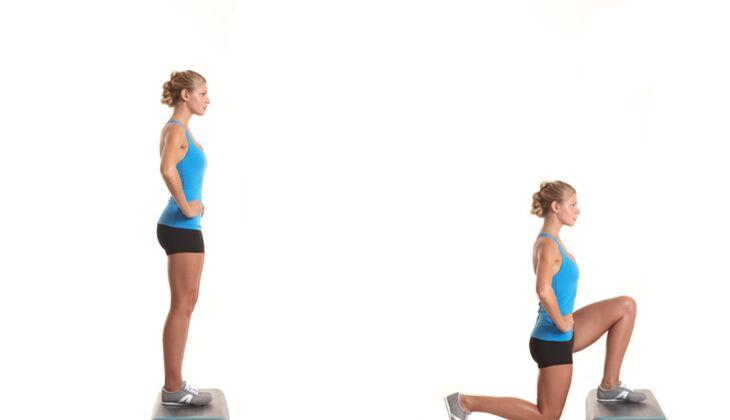 Das Po-Workout: Ausfallschritt von einer Stufe