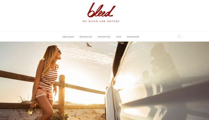 Fair Trade Kleidung: Homepage von Bleed.com