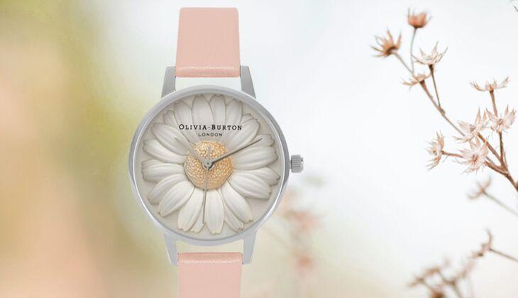 Flowershow 3D Daisy Dusty Pink and Silver von Olivia Burton