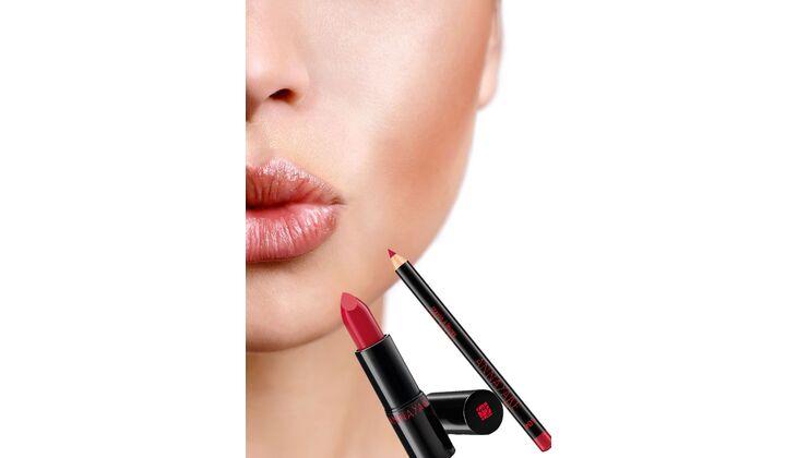 Für volle Lippen: Crayon à lèvres Lipliner, Farbe 104 und Rouge à lèvres Lippenstift Farbe 41, beides von Anna Yake, über Douglas