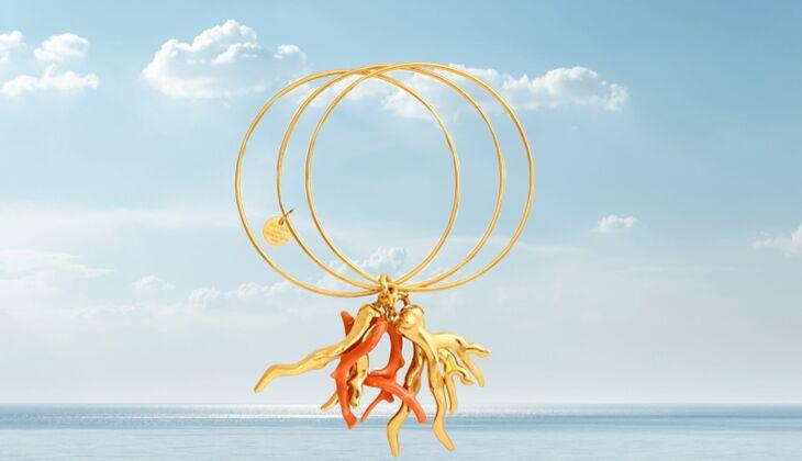 Goldene Korallen: Armreifenset Layla