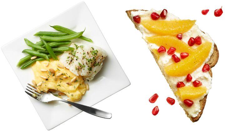 Kabeljau mit Polenta und Ricotta-Toast mit Granatapfel