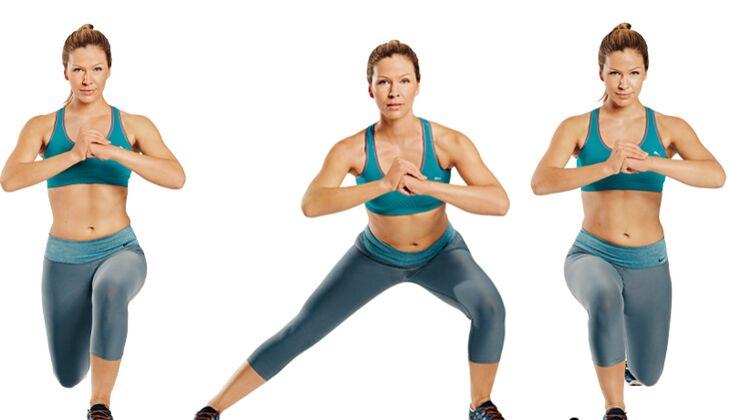 Trainingsplan flacher Bauch: 180-Grad-Ausfallschritte