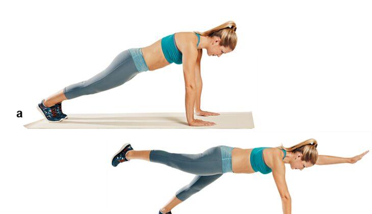 Trainingsplan flacher Bauch: Zwei-Punkt-Stütz
